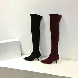 Wholesale Korea Women Winter Boots - 2017 new winter boots European round elastic thin Knee Boots lace trend Korea female boots