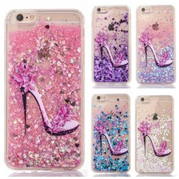 Wholesale Crystal Heels For Sale - hot sale phone case gitter star sequins High heels liquid quicksand transparent PC crystal case for iphone 7 7s plus 6 6s plus