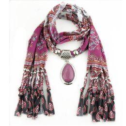 Wholesale Pashminas Pendants - Wholesale- winter women scarf Printing fringed pendants scarves girl shawl Pendant Tassel Rhinestone lenco feminino muffler Jewelry Scarves