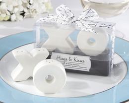 Wholesale Hugs Kisses Salt Shaker - 2pcs set wedding party favor gift and giveaways for guest--Hugs and Kisses XO Ceramic Salt And Pepper Shaker Beach Souvenirs