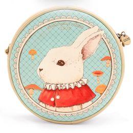 Wholesale Alice Wonderland Vintage - Wholesale-Alice in Wonderland Mr. Bunny Round Shoulder Bag Cute Dream Bunny Purse Vintage Animal Printed Design Fashion Lolita Style Bag