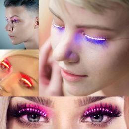Wholesale Evening Eyes - New Evening party Luminous Eyes LED Eyelash Lamp Double Skin Stickers False Eyelashes Lamp Halloween Saloon Club Party lights