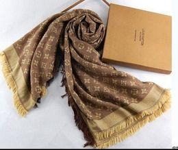Wholesale Gold Silk Scarves - L Brand Check Women Wool Cotton Cashmere Silk Scarves Scarf Wrap Shawl Pashmina 140x140cm