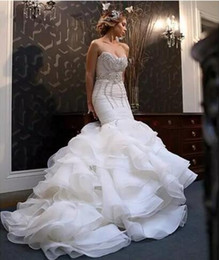 Wholesale Bling Sweetheart Wedding Dress - 2018 New African Mermaid Wedding Dresses Plus Size Bling Crystal Beaded Court Train Bridal Gowns Organza Ruffles Tiered Skirt Bridal Dress