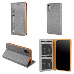 Wholesale Skin Closures - Suck PU Leather Wallet Case For Iphone X IX 5.8inch Magnetic Closure Flip Cover Frame Photo ID Card Slot Pouch Holder Stand Pouch Purse skin