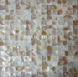 Wholesale Mosaic Decorative Tile - In stock Bottom price!! Decorative Mother Of Pearl Tile Backsplash Tiles , Cheap Shell Mosaic Wall Tiles Natural color Single Chip size 20mm