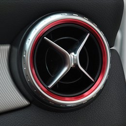 Wholesale Red Car Trim - Car styling, Air Condition Air Vent Outlet Ring Cover Trim Decoration for Mercedes Benz A B Class W246 W176 AMG Accessories