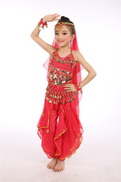 Wholesale Girls Indian Dance Costumes - Children's Indian dance clothes 2017 new time limit sale of children belly dance set girls dance performance clothing