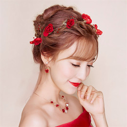Wholesale Headdress Necklace - New Fashion High Quality Wedding Bridal Red Flowers Tiara Wreath Headwear Earrings Necklace Accessories Wreath Headdress Hair Jewelry 2017
