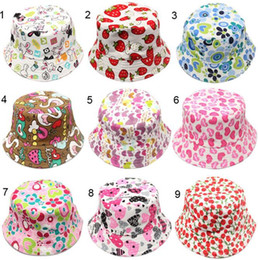 Wholesale Little Boys Hats Caps - 30 colors new arrival baby kids Cartoon sunflowers smile face fruit animals and camouflage Print hats boy girl little kids casual caps