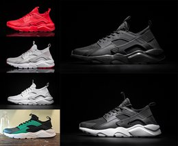 Wholesale Women White High Canvas Shoes - 2017 Huarache IV Ultra Run Running Shoes For Men Women Triple Black White red high Quality Sneakers Huaraches Jogging Sports Shoes Eur 36-45