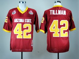 Wholesale Mens American Football Jerseys - Arizona State Sun Devils College Jersey 42 Pat Tillman American ASU mens Retro Football Jerseys red size S-XXXL