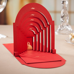 Wholesale Pop Up 3d Cards - Wholesale- Red Elegant Romantic Couple Wedding Invitation  3d pop up cards Personalized Printing+Envelope