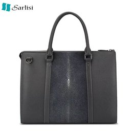 Bag businessmen en Ligne-Vente en gros- 100% Véritable Stingray Skin Leather Porte-documents pour ordinateur portable pour homme Homme d'affaires Man Man Handbag Exotic Leather Male Shoulder Messenger Bag