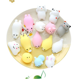 Wholesale Cute Cellphone Charms - 30pcs Mini Squeeze Toy Squishy cat Cute Kawaii doll Squeeze Stretchy Animal Healing Stress Hand Fidget vent Toys Paste on for cellphone Case