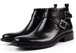 Wholesale Double Buckle Boots - Fashion Brand Black   Brown Tan Mens Short Boots Double-Buckle Genuine Leather Shoes Mens Gentlemen Dress Boots Mens Ankle Boots