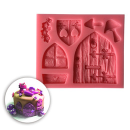Wholesale Windows Mouldings - 3D Cartoon Fairy House Wooden Door Windows Shape Silicone Fondant Mould Cake Decorating Tools Chocolate Mold Tool SM-438