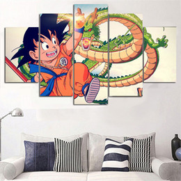 Wholesale Large Panel Canvas Prints - 5 Pieces large Canvas painting No frame Anime Dragon Ball Printed Poster Pictures Children's room Decor Free Shipping