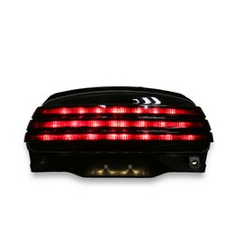 Soporte de barra led online-Smoke Tri-Bar Fender LED Turn Tail Light + Soporte para Harley Softail FXSTB 06-UP