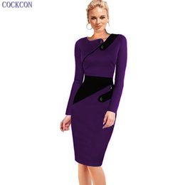 Wholesale Elegant Work Wear - COCKCON Womens Asymmetric Elegant Ruched Full Sleeve Slim Wear to Work Business Casual Party Pencil Dress 094