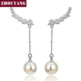 Wholesale Ear Drops Earrings Diamonds - Top Quality 2015 New 7pcs CZ Diamonds Drop Imitation Pearl 18K Gold Plated Ear Hook Stud Earrings JewelryZYE459 ZYE460 ZYE478