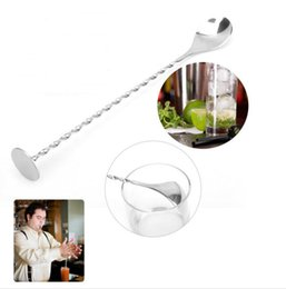 Wholesale Long Handled Stainless Steel Spoon - Stainless steel long handle spoon Coffee Latte Ice Cream Soda Sundae Cocktail Scoop Multi function wizzle stick