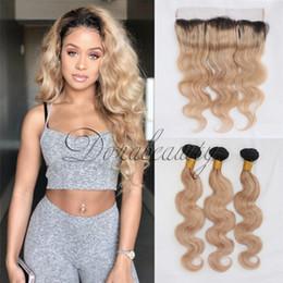 Wholesale 1b 27 Human Hair Weave - 3 Bundles 1B 27 Ombre Brazilian Hair Weave Bundles 2 tone Black Blonde Body Wave Colored Remy Human Hair 100% Human Hair Extensions