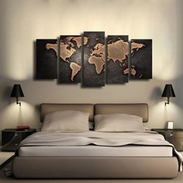 Wholesale 5pc Canvas Art - 5PC World Map, Pure Handpainted Huge Modern fashion home Wall Deco Art Oil Painting On canvas arch