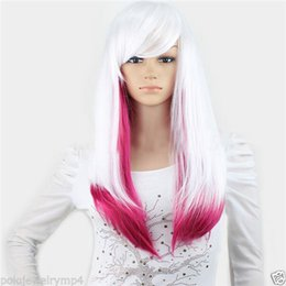Wholesale Wigs Rose Red - Free shipping New High Quality Fashion Picture wig > New Cosplay Fashion White Rose Red Long Straight mixed Wigs