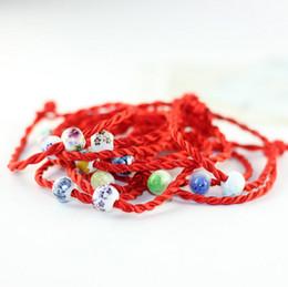 Wholesale Chinese Beaded Bracelets - Wholesale Handmade Bangles Lucky Chinese Red Rope Bracelet Bangles Eramic Beads Bangles Bracelets Love Folk-Custom Bracelets For Women 2017