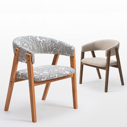 Wholesale Modern Wood Dining Chairs - Fashion 100% wooden dining chair with armrest,oak sofa,cotton fabric coffee chair,bar chair,cadeira wood living room furniture chair