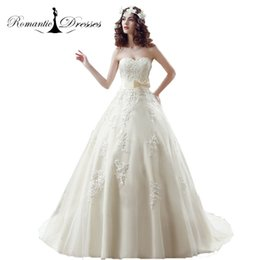 Wholesale Sweetheart Strapless Wedding Ball Gown - Light Champagne Ball Gown Wedding Dresses 2017 Sweetheart Romantic Dresses Appliques Strapless Cheap Bridal Gowns Vestidos De Novia 30235