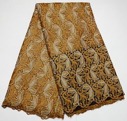 Wholesale African Fabrics Yellow - 5 yards Gold silver African Swiss Cord lace chemical guipure lace fabric french lace 236 red fushia yellow