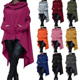 Wholesale Women Fashion Long Blouse - 10 Colors Fashion Hoodies Irregular Long Sleeve Jackets Women Solid Casual Coat Autumn Blouses Sweatshirts Pullover Outwear CCA7373 4pcs
