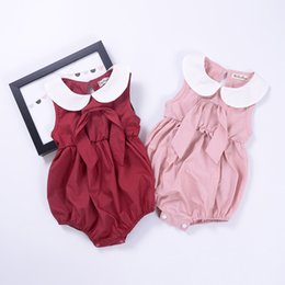 Wholesale Cherry Romper - HUG ME 2 Style 0-3T Baby Flower Rompers+Hair band Girl ins Cotton floral cherry print sleeveless romper with Bow Girls Ruffled Jumpsuit