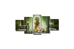 Wholesale Huge Abstract Oil Painting - Free Shipping ,Lots Wholesale ,w014#,Handicrafts Modern Abstract 5 Panel Combination Huge Wall Decor Art Oil Painting On Canvas