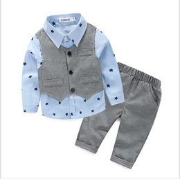 Wholesale Three Stars Pants - Three Pieces Sets For Baby Boys 2017 Spring Autumn Toddler Gentleman Style Clothing Set Vest+Stars Printed Shirt+Pants Boy Suit Outfits