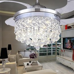 Wholesale Indoor Led Ceiling Bulb - Invisible Crystal Light Ceiling Fans Modern LED crystal lamp Indoor parlor Ceiling Fans Crystal Pedant Light remote control Control