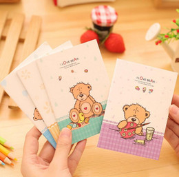 Wholesale Notepad Paper Book - Wholesale- I Love Bear A6 Mini Notebook Diary Book Exercise Composition Notepad Escolar Papelaria Gift Stationery