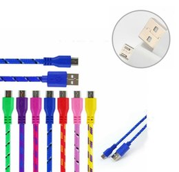 Wholesale Power Braid - Hot Sale 20CM 3 in 1 Flat Braided Fabric Charger Cable Micro USB Data Cables For Android Smart Phone Power Bank Media Player