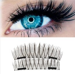 Wholesale Plastic Individual - 4pcs Magnetic Eyelashes New Easy Wear 3D Magnetic Eyelash False Eyelash Double Magnet Soft Hair Reusable Fake Magnetic Lashes