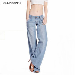 Wholesale Ladies Bell Bottoms - Wholesale- Women Light Blue Wide Leg Jeans Distressed Denim Pants Washed New 2017 Ladies Loose Fit Retro Jeans Bell Bottom Free Shipping