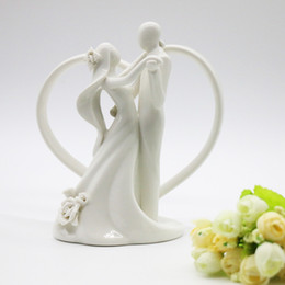 Wholesale Wedding Topper Silhouette - Princess Wedding Decor Dancing Bride and Groom&Heart Figurine Shine Ceramic Wedding Cake Topper Silhouette Romantic Topper HWD17