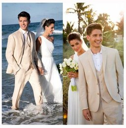 Wholesale Men Beach Wedding Suit - 3 Pieces Beige Beach Wedding Tuxedo Suits Handsome Mens Suits For Groom and Groomsmem Custom Made Formal Prom Suits ( Jacket+Pants+Vest)