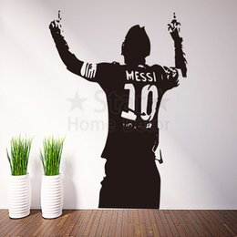 Wholesale Wall Vinyl Designs - Good quality art new design football Messi cheap home decoration Wall Sticker removable house decor soccer player Lionel room decals