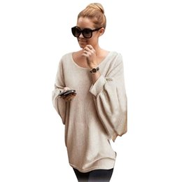 Wholesale Loose Bat Sleeve Knitting Coat - Wholesale-Colorful Apparel 2016 autumn winter Pullover women new fashion bat sleeve loose sweater coat sweaters CA747