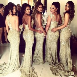 28fb2587fb Stylish Sezy Mermaid Bridesmaid Dresses Sparkle Golden Sequins Side Split  Long Maid Of Honor Gowns 2017 New Prom Dress Wedding Party Dress