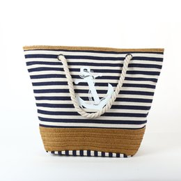 Wholesale black cotton rope - 2017 Summer Anchor Strips Printing Canvas Tote Bag Women's Navy Style Rope Travel Bag Straw Weave Shopping Beach Bag C94