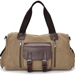 Wholesale Vintage Carry Luggage - Wholesale- Famous Brand Men Vintage Canvas Men Travel Bags Women Weekend Carry On Luggage & Bags Leisure Duffle Bag Large Capacity Handbags