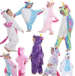 Wholesale Boy Pyjamas Cartoon - Kids Flannel Unicorn Animal Pajamas Baby Cosplay Cartoon Horse Sleepwear Boys Girls Pyjamas Home Clothes 9 Styles OOA3341
